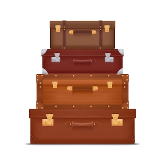 Pila realistica di valigie vintage