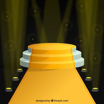 Realistic stage podium with elegant lightning