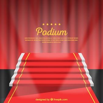 Realistic stage podium with elegant lightning
