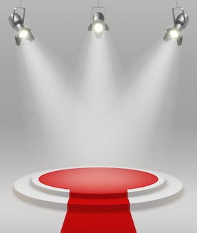 Realistic stage with spotlights red carpet in the middle of the room vector illustration