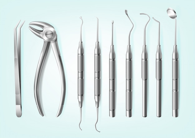 Realistic stainless steel professional dental tools for teeth