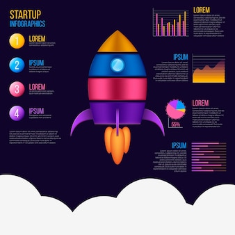 Realistic startup infographic
