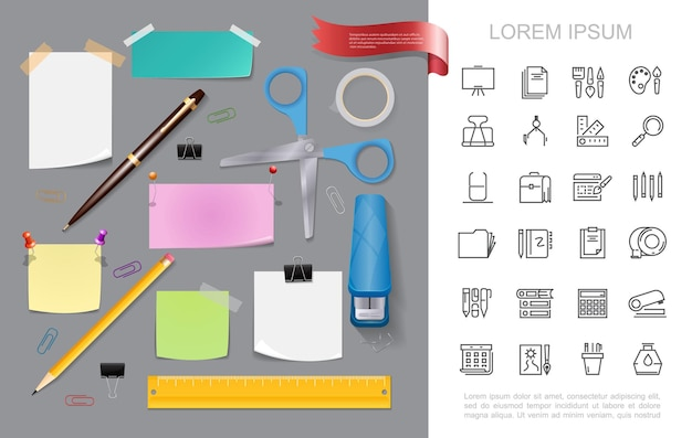 Realistic stationery colorful concept with stapler scissors pen pencil paper note stickers pushpins adhesive tape ruler binder clips office stationary linear icons  illustration,