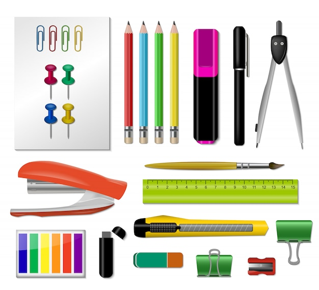 Realistic stationery icon set