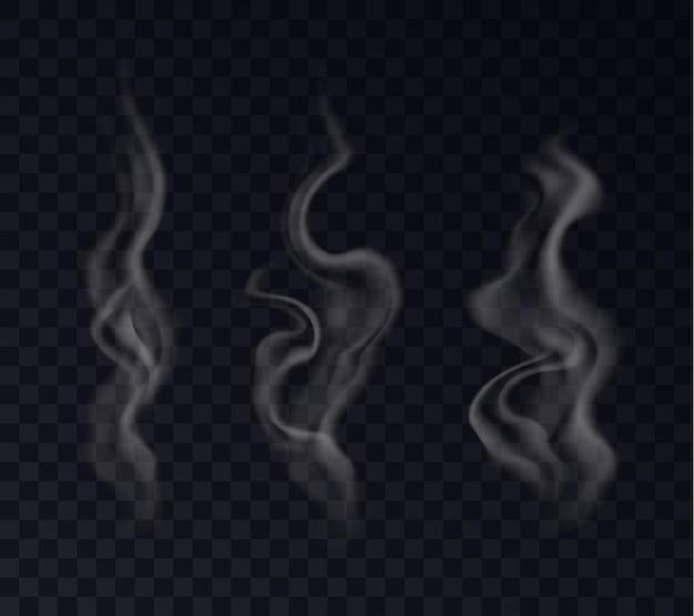 リアルなスチームエフェクトセット。白いタバコの煙、空気の風の霧、透明な背景に分離された熱い飲み物の蒸気からの喫煙の熱い渦巻き。ベクトルイラスト