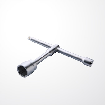Realistic steel socket wrench on white
