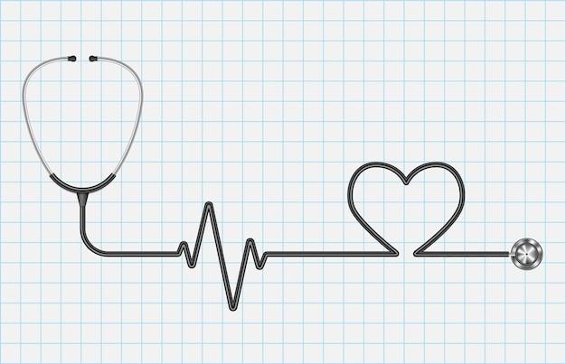 Реалистичный стетоскоп и сердце, изолированные на миллиметровой бумаге, концепция медицинского обслуживания
