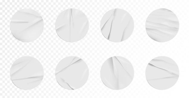 주름 효과 세트가 있는 현실적인 스티커 모형