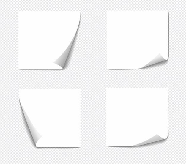 흰색 바탕에 진짜 그림자와 격리하는 현실적인 스티커 메모. 그림자가있는 사각형 스티커 용지 알림.