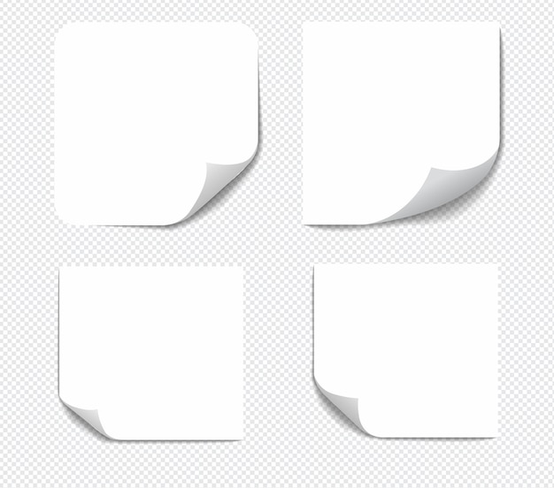 Realistic sticky notes isolated with real shadow on white background. square sticky paper reminders with shadows.