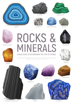 Realistic stone mineral visual guide icon set with rock and minerals visual guide to determining the type of stones headline  illustration