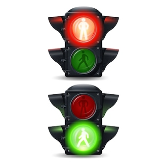 Realistic stop and go pedestrian traffic lights set