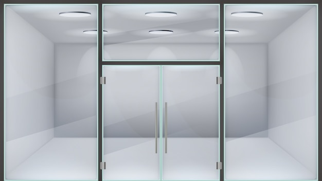 Realistic store door. glass double office entrance, front exterior mall doors, modern metal frame realistic steel door   illustration. realistic glass facade, shop boutique