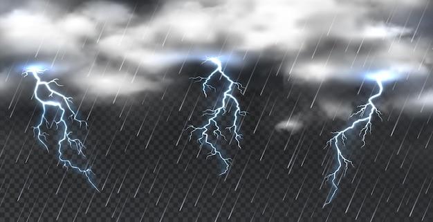 현실적인 폭풍. 투명한 배경에 무거운 구름 천둥과 소나기 비. 낙뢰, 자연 하늘 조명 에너지와 벡터 일러스트 레이 션 분위기 현상