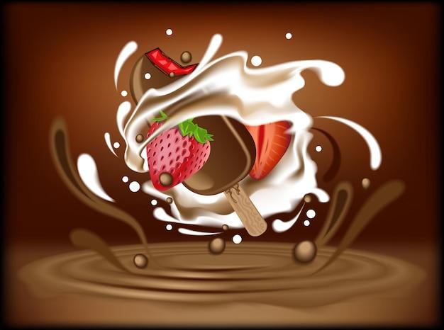 Realistic strawberry flavor ice cream with chocolate and cream  splash