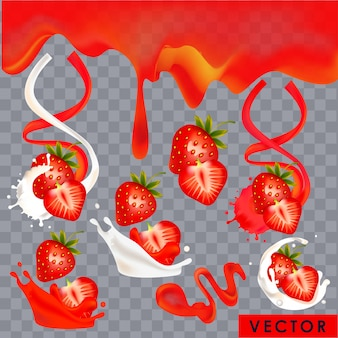 Realistic strawberry yogurt and juice splashes