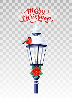 Realistic streetlight with snowcap, poinsettia and bullfinch bird for winter holidays design