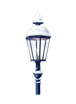 Реалистичный уличный фонарь с снежной шапкой