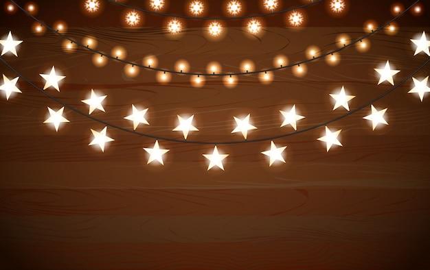 Реалистичные гирлянды из гирлянд с круглыми лампами, звездами и лампой в форме снежинки.