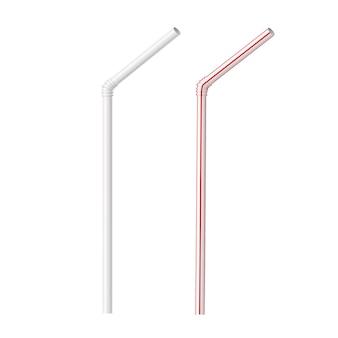 Реалистичные полосатые пластиковые соломинки