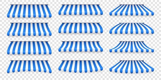 현실적인 줄무늬 상점 양산. 상점 천막. 지붕 캐노피. 상점 텐트 세트.