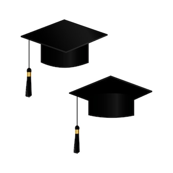 Realistic student cap with shadow