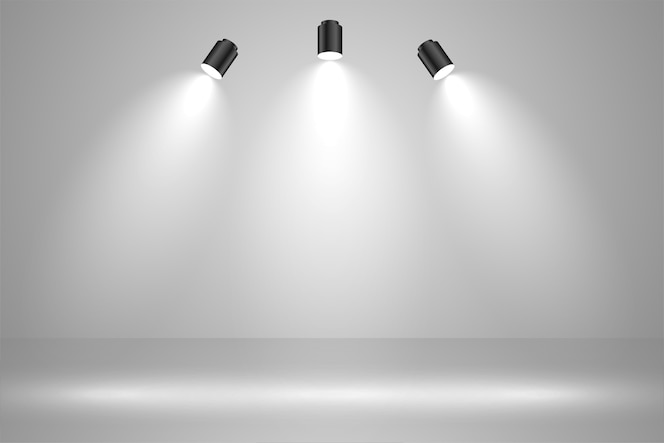 Realistic studio lights empty background design