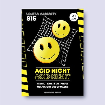 Realistic style acid emoji poster