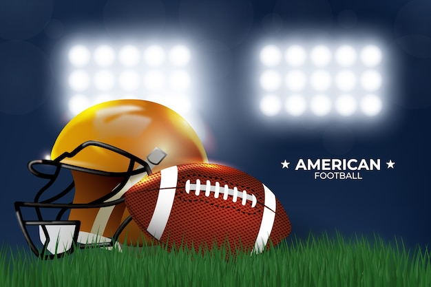 Realistic style american football with helmet