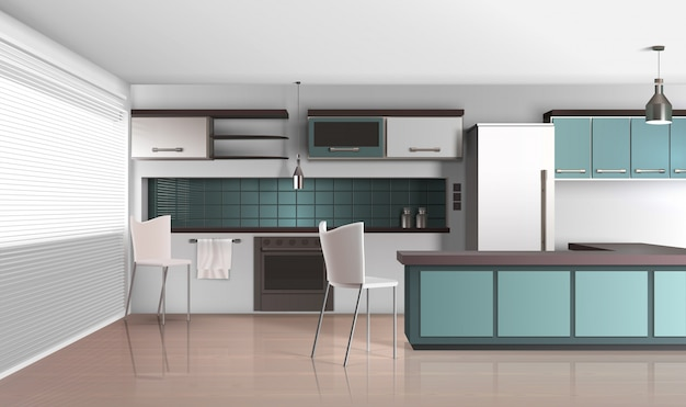 Realistic style apartment kitchen