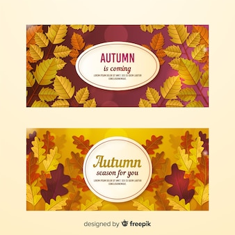 Realistic style autumn banners template
