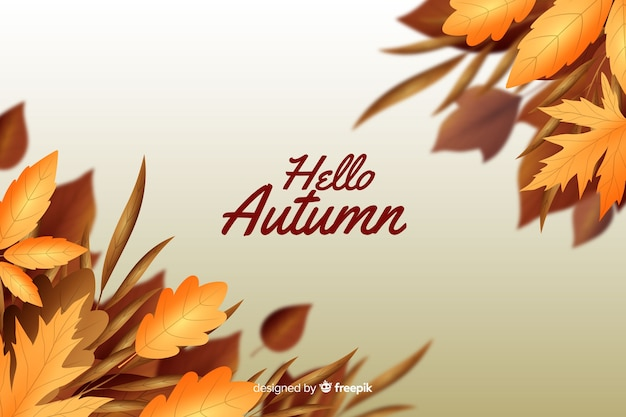 Realistic style autumn leaves background