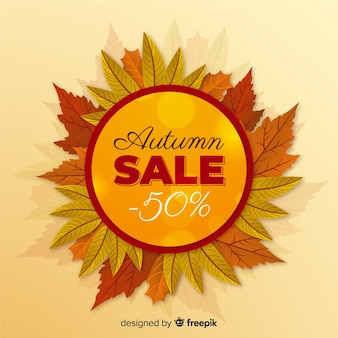 Realistic style autumn sale banner
