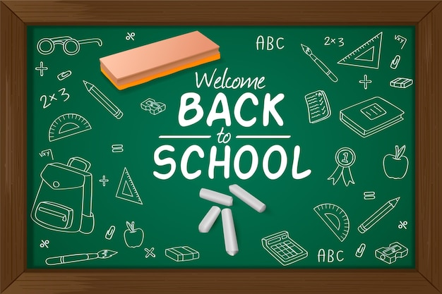 Realistic style back to school background