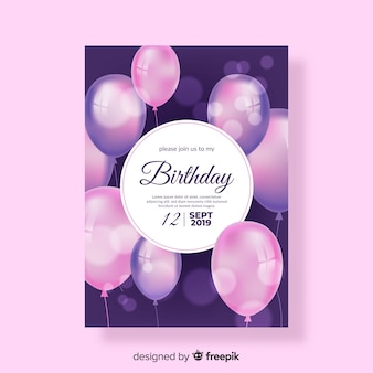 Realistic style birthday invitation template