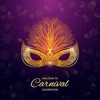 Realistic style brazilian carnival with mask
