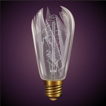 Сломанная лампочка в реалистичном стиле