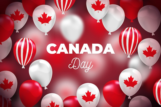 Realistic style canada day background