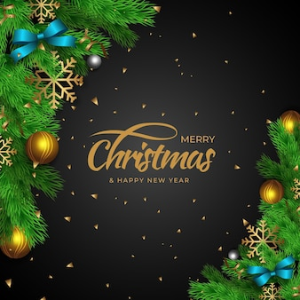 Realistic style christmas background