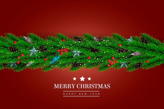 Realistic style christmas tinsel background
