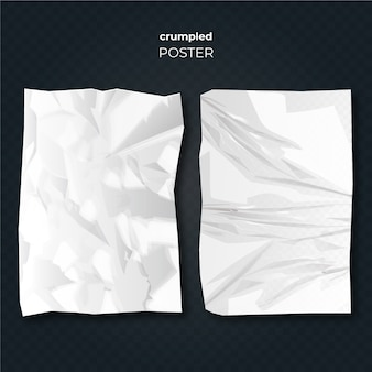 Realistic style crumpled poster effect