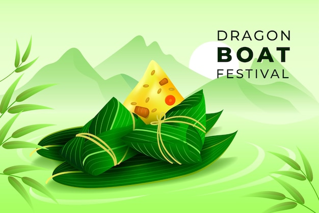 Realistic style dragon boat's background