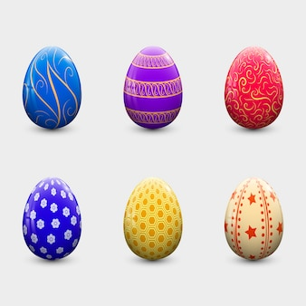 Realistic style easter day egg collection