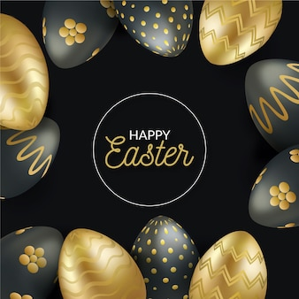 Realistic style easter day golden egg set