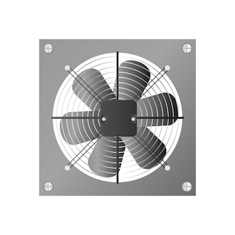 Realistic style exhaust fan. fan, cooler for the computer. isolated