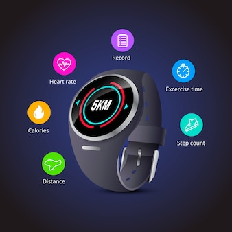 Realistic style fitness trackers