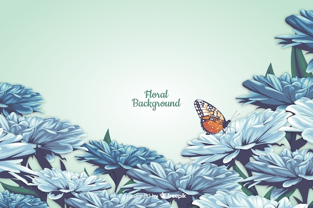 Realistic style floral decorative background