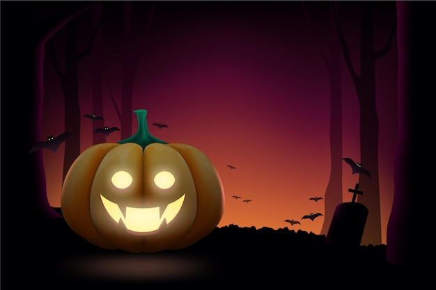 Realistic style halloween background