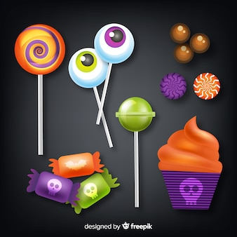 Realistic style halloween candy collection