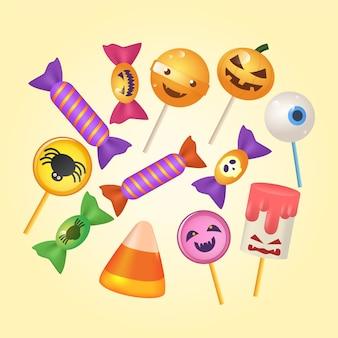 Коллекция конфет на хэллоуин в реалистичном стиле